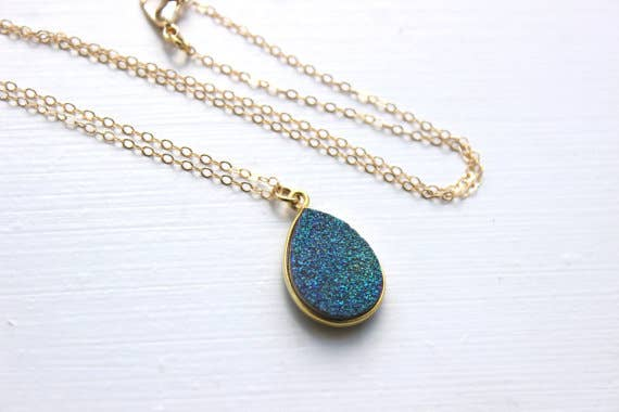 Handmade Gold Green Druzy Necklace