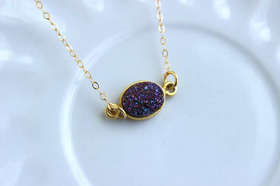 Gold Purple Druzy Necklace