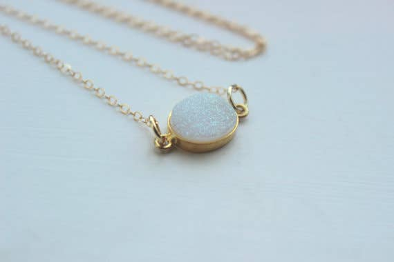 Gold White Opal Druzy Necklace