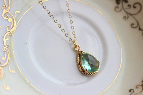 Green Prasiolite Teardrop Necklace