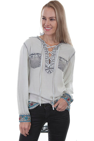 Embroidered Lace Up Blouse