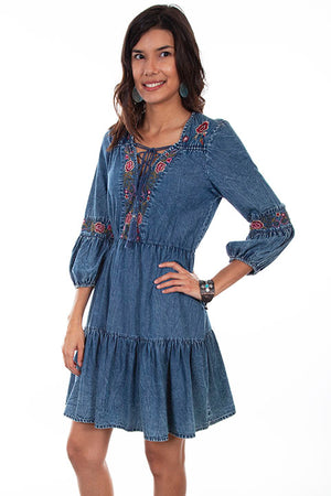 Embroidered Denim Lace Up Dress