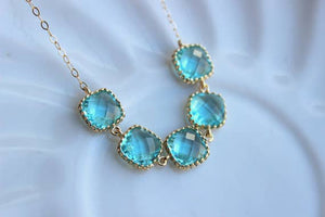 Handmade Gold Aquamarine Blue Necklace