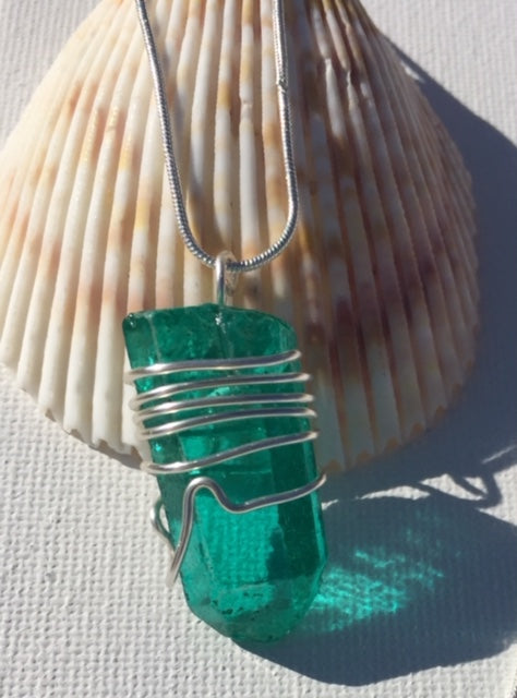 Handmade Wire Wrapped Teal Crystal Pendant