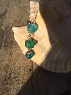 Handmade Sea Glass Wire Wrapped 3 Drop Pendant Necklace