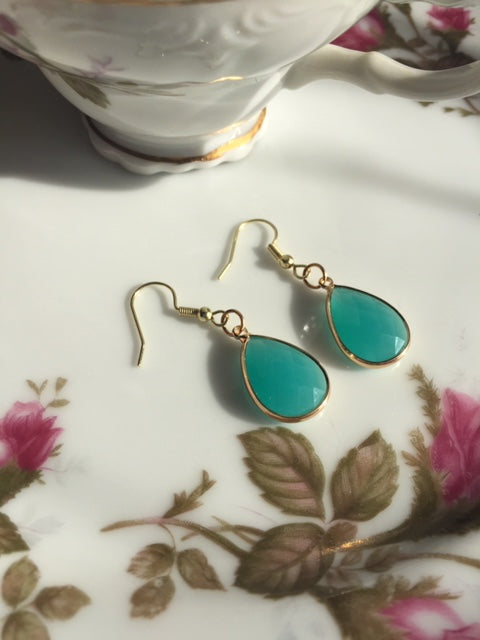 Aqua Marine Tear Drop Earrings