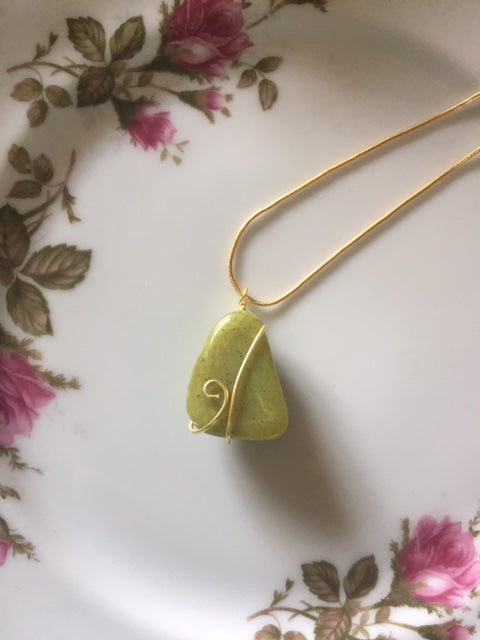 Handmade Wire Wrapped Smooth Stone Necklaces