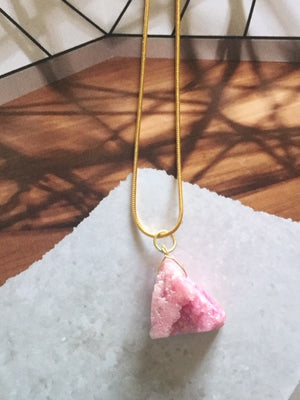 Handmade Crystalized Pink Druzy Necklace