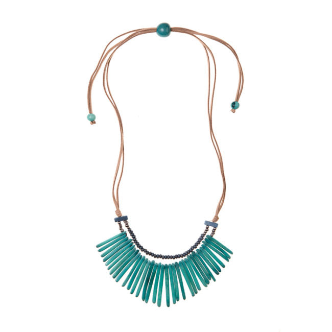 Tagua nut turquoise necklace