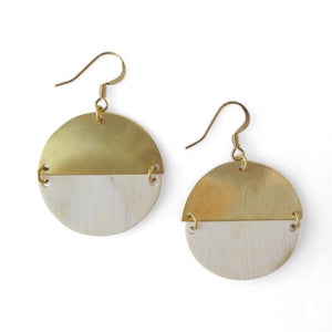 Recycled Bull Horn Louisiana Circle Earrings