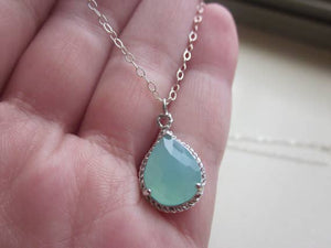 Pacific Aqua Mint Blue Necklace Silver