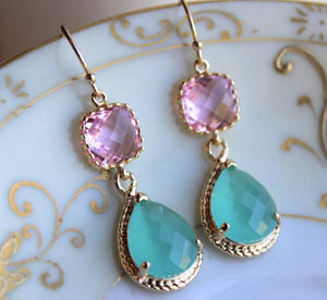 Pacific Aqua Mint Earrings Pink Gold