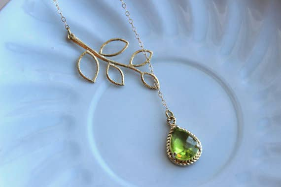 Peridot Apple Green Lariat Necklace