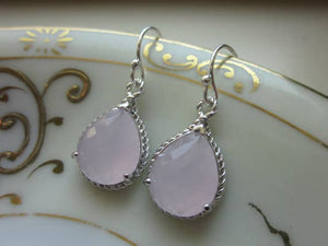 Pink Opal Earrings Silver Pink