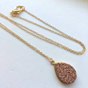Rose Gold 14k Druzy Necklace