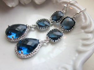 Sapphire Navy Blue Three Tier Earrings