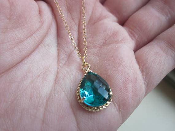 Sea Green Necklace Gold Teardrop