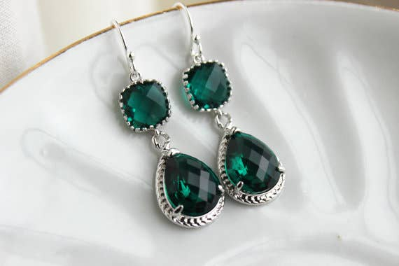 Silver Emerald Green Earrings