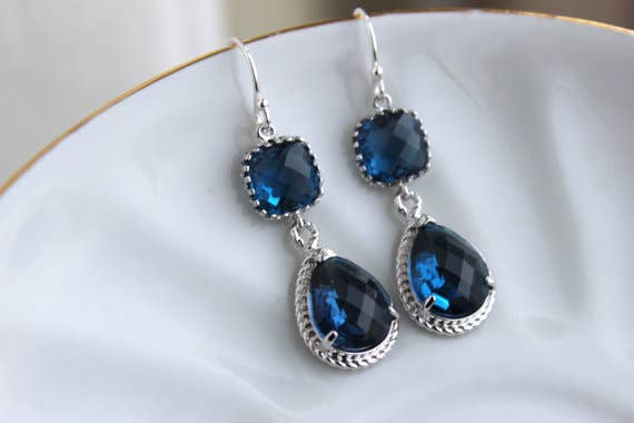 Silver Sapphire Earrings Navy Blue