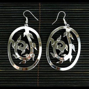 Handmade Large Silverplated Vine Earrings