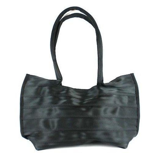 Recycled Black Seat Belt Tote with Snap