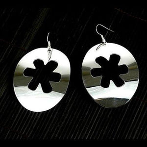 Large Silverplated Flower Cutout Earrings Handmade and Fair Trade
