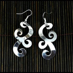 Handmade Large Silverplated Scrollwork Earrings