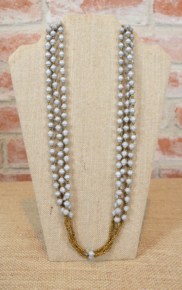 Handmade Gray Paper Bead Necklace