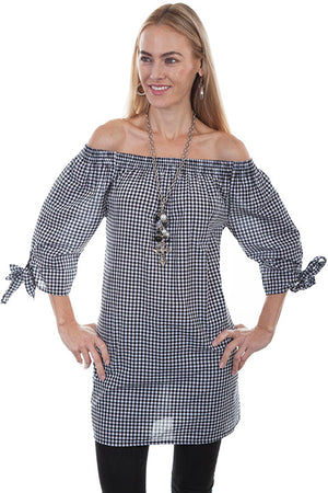 Black and White Checkered Off Shoulder Cotton Top