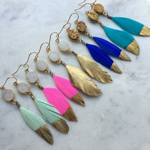 Handmade Colored Dipped Gold Feathered Earrings