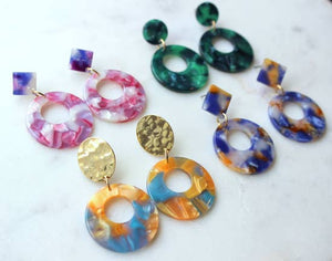 Handmade Colorful Resin/Acrylic Stud Earrings