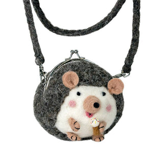Handmade Felt Critter Hedgehog Purse