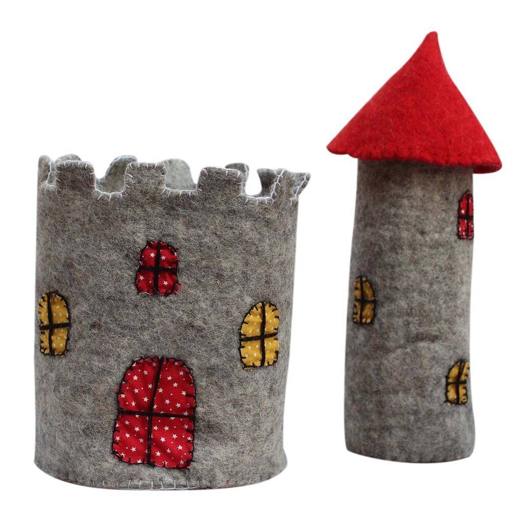 Handmade Large Felt Castle with Red Roof