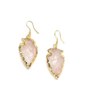 Handmade Abbakka Arrowhead Rose Quartz Earrings