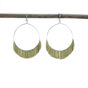 Handmade Delicate Fringed Chain Hoops - Gold