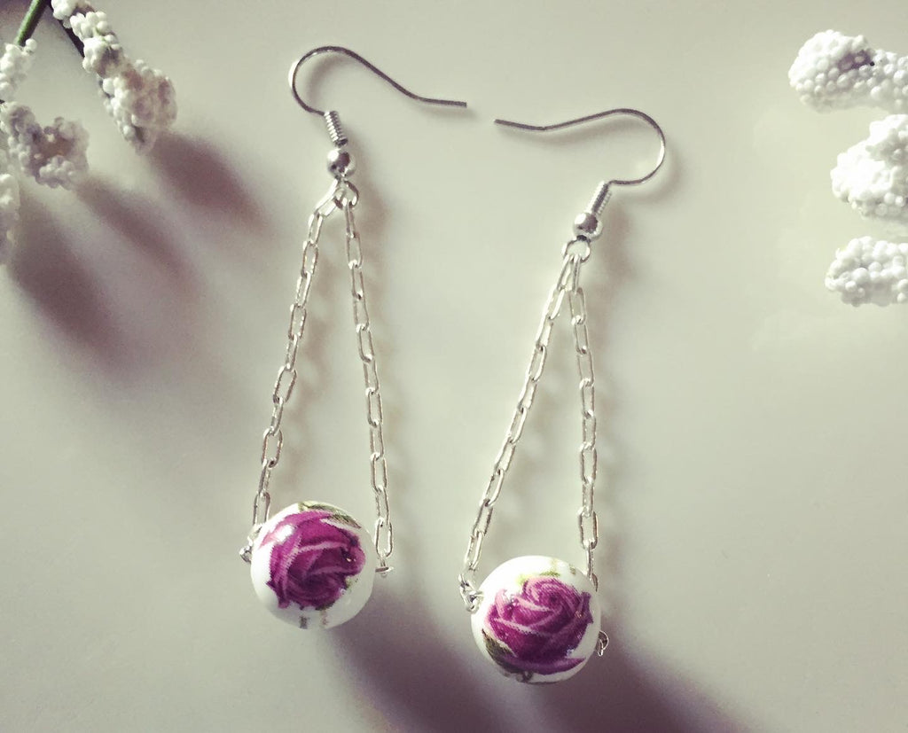 Floral Ceramic Drop Silver Chain Earrings