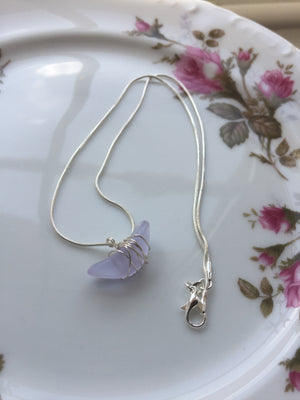 Lilac Wire Wrapped Silver Necklace