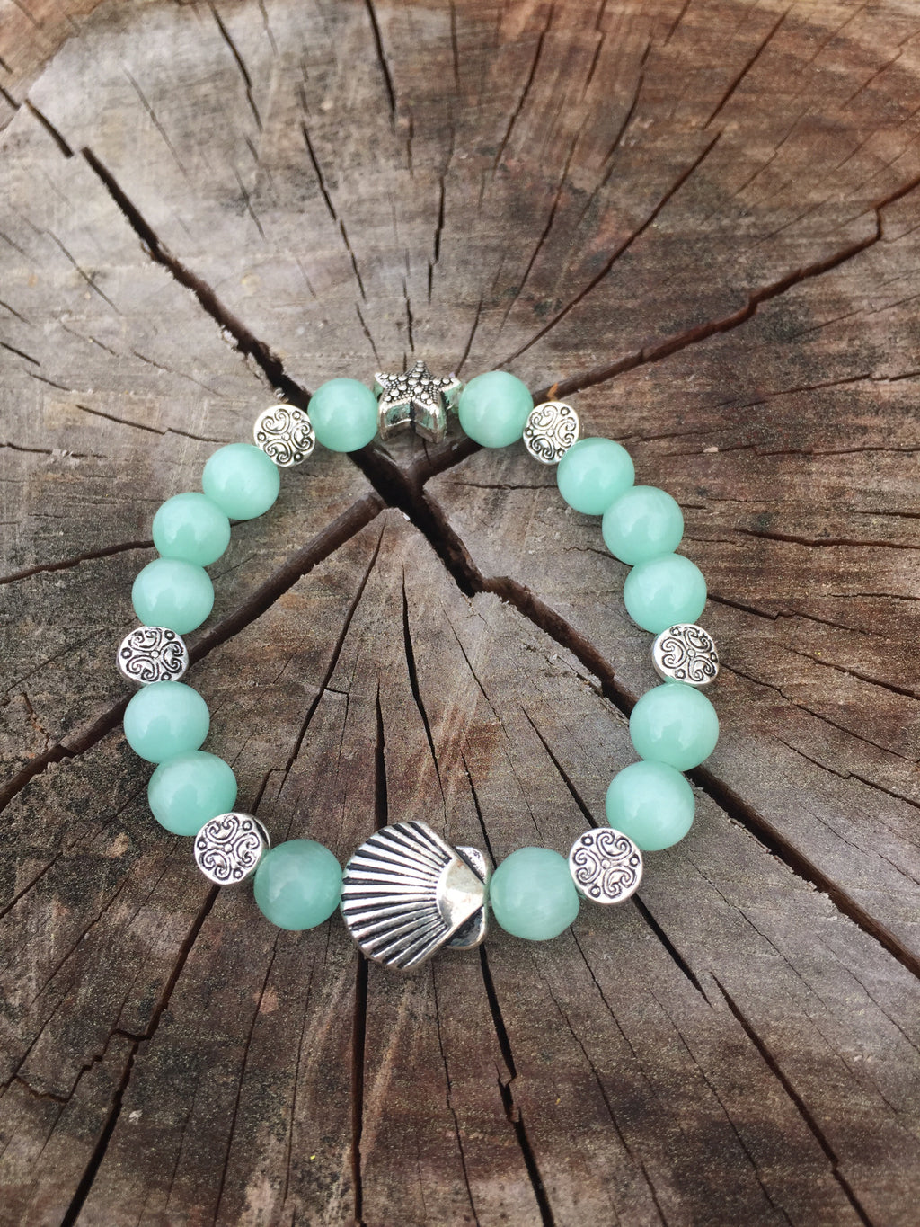 Aqua Beaded Beach Stretchy Bracelet
