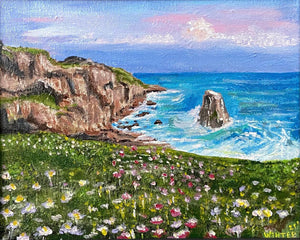 "8"" x 10"" Acrylic on Stretched Canvas ""Seascape Overlook"" Framed Art"