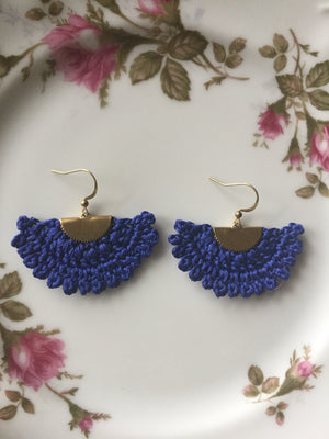Handmade Crocheted Fan Earrings
