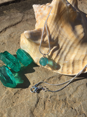 Handmade Sea Glass Wired Wrap Drop Necklace