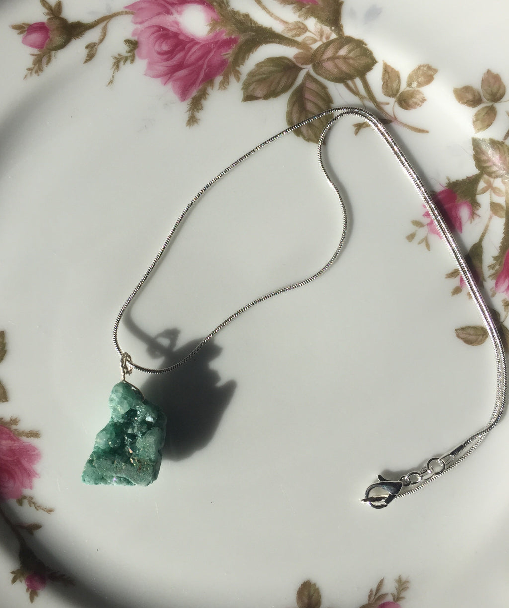 Teal Druzy Stone Silver Necklace