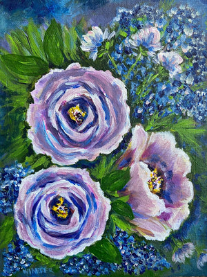 "8""x 10"" Original Acrylic Art on Canvas Board ""Lavender Roses"""