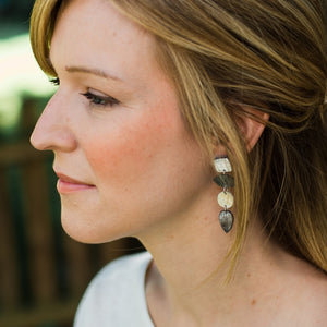 Recycled Bull Horn Leo Earrings