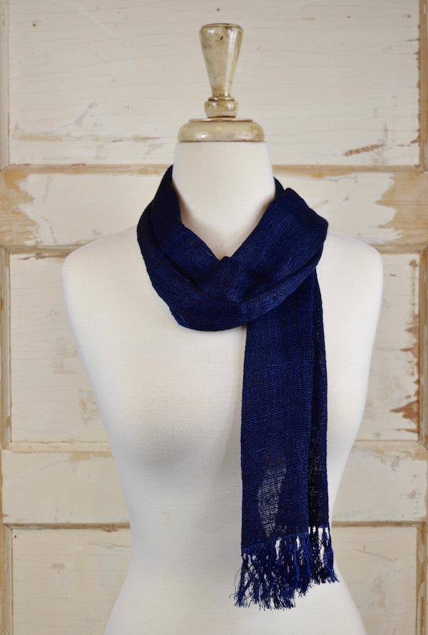Navy Silk Scarf/Shawl