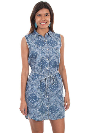Denim Paisley Print Shirt Dress