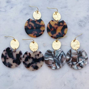 Handmade Tortoise Shell Resin Earrings