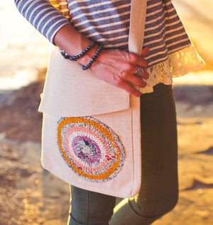 Jute Messenger Bag with Sari Embellishment