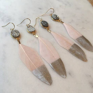 Handmade Silver Dipped Pink Feather Earrings