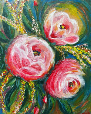 "8"" x 10"" Original Artwork Acrylic on Canvas Board ""Sunset Roses"""